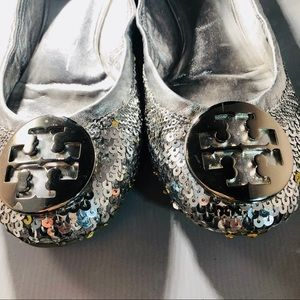 Tory Burch sequin flats with Silvertone logo